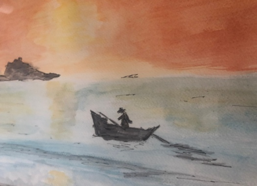 Fisherman in Sri Lanka, Water Colour
